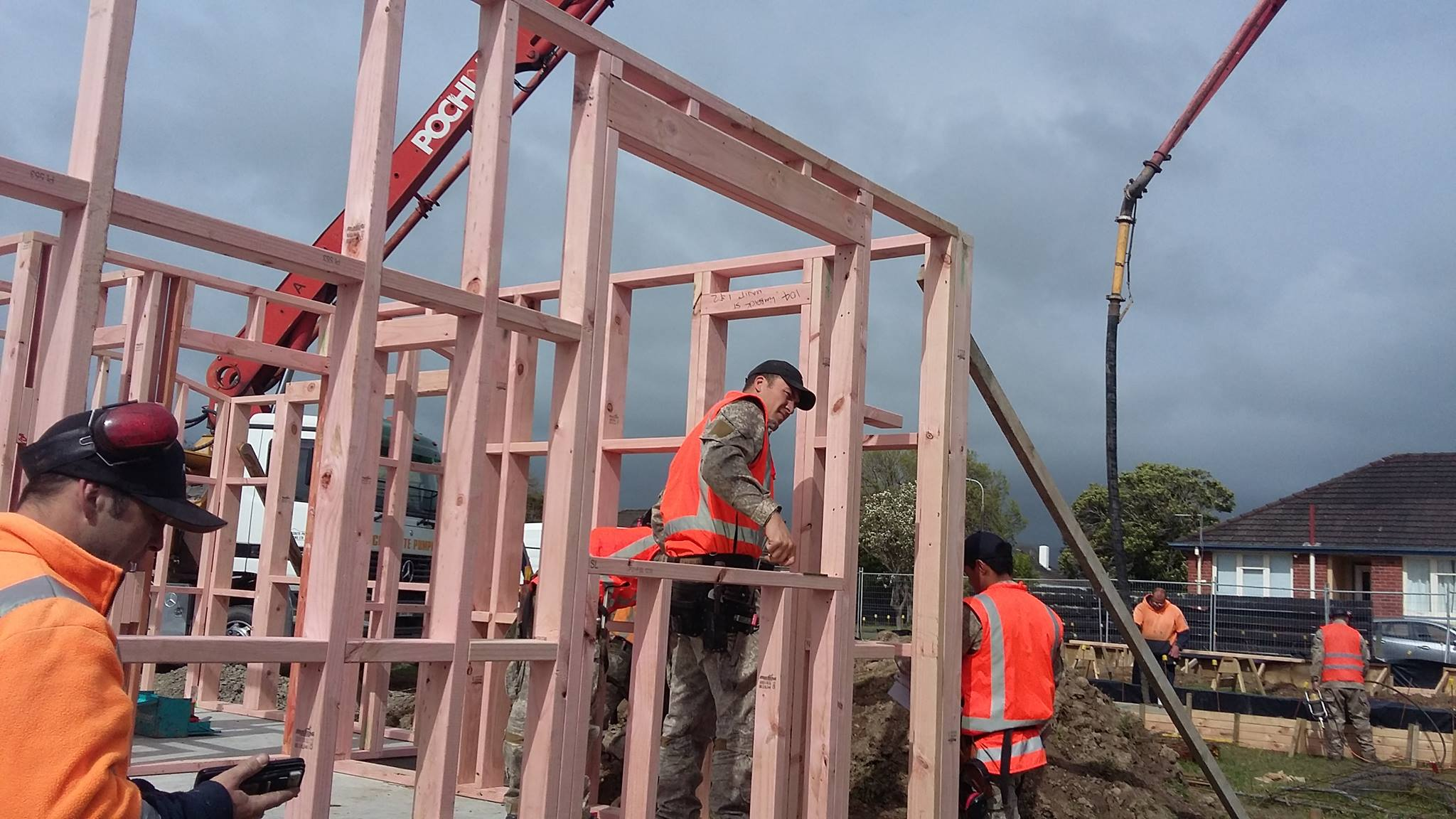Limbrick St, Frames are going up, thanks to the NZ Defense Force - 27 Sep 2017